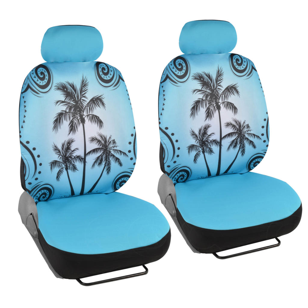 Brand New Blue Tropical Palm Tree High Back Front Seat