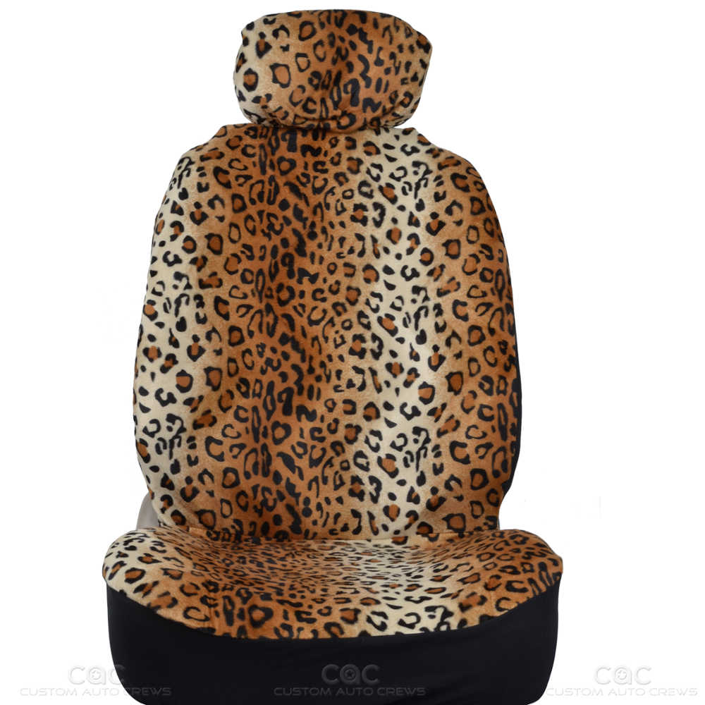 BDK Beige Animal Print Premium Safari Leopard 4 Pc Seat