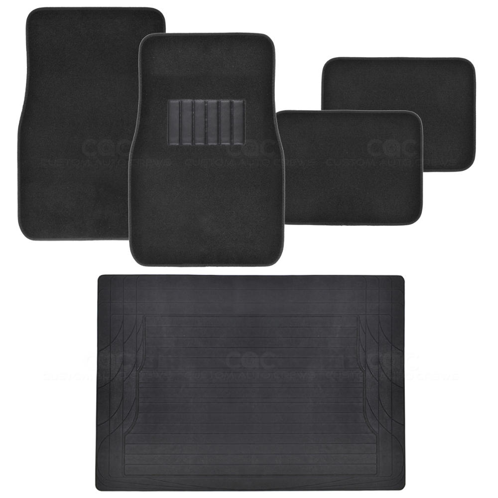 5pc complete interior floor mats set front rear black carpet w rubber trunk ebay. Black Bedroom Furniture Sets. Home Design Ideas