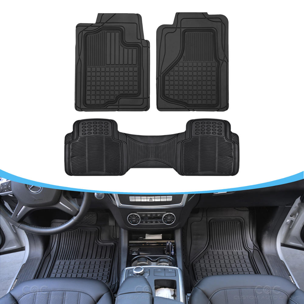 hd 3d rubber car floor mats auto liners all weather 3pc front w rear liner auto ebay. Black Bedroom Furniture Sets. Home Design Ideas