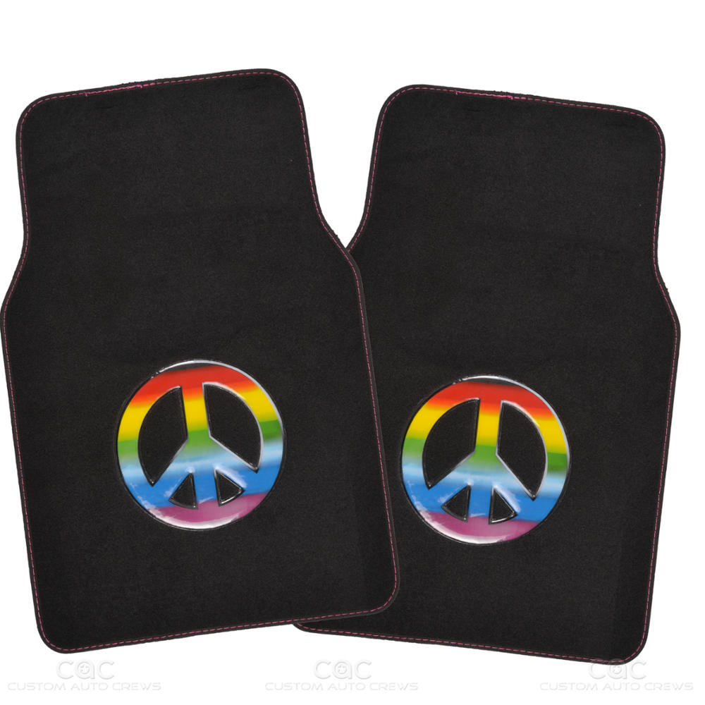 BDK 15Pc Peace Car Seat Cover And Matching Carpet Car