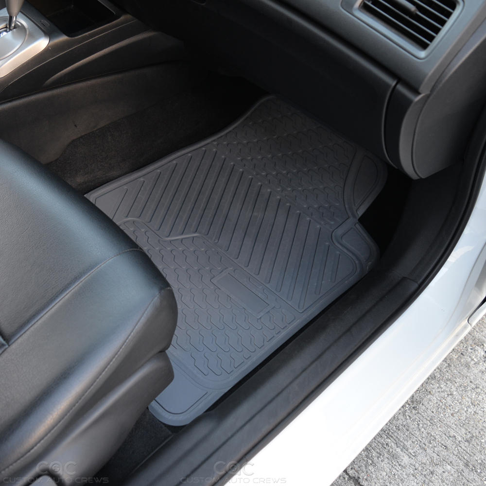 gray tough rubber car floor mats cargo liners 5 piece front rear protection ebay. Black Bedroom Furniture Sets. Home Design Ideas