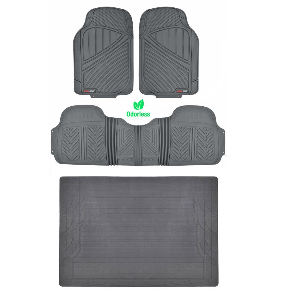 Rubber Floor Mats : Gray pc rubber floor mat car suv heavy duty all weather