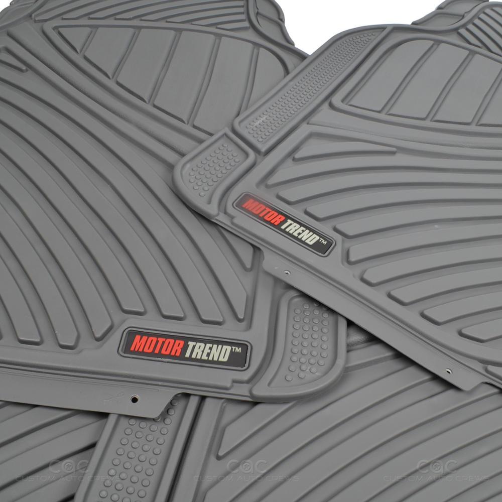flextough rubber car floor mats cargo set gray heavy duty bpa free front rear. Black Bedroom Furniture Sets. Home Design Ideas