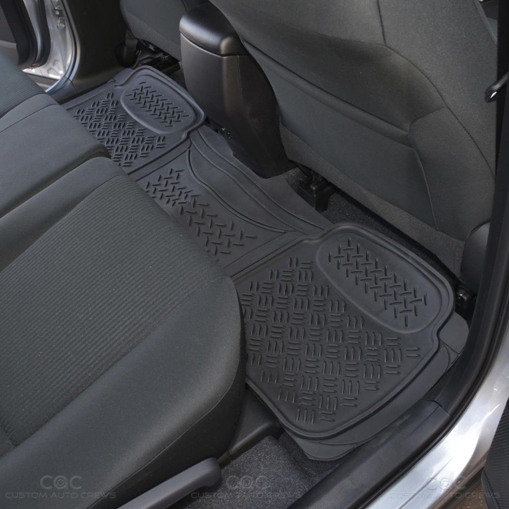 supreme heavy duty floor mats liner set front rear trunk cargo black motortrend ebay. Black Bedroom Furniture Sets. Home Design Ideas
