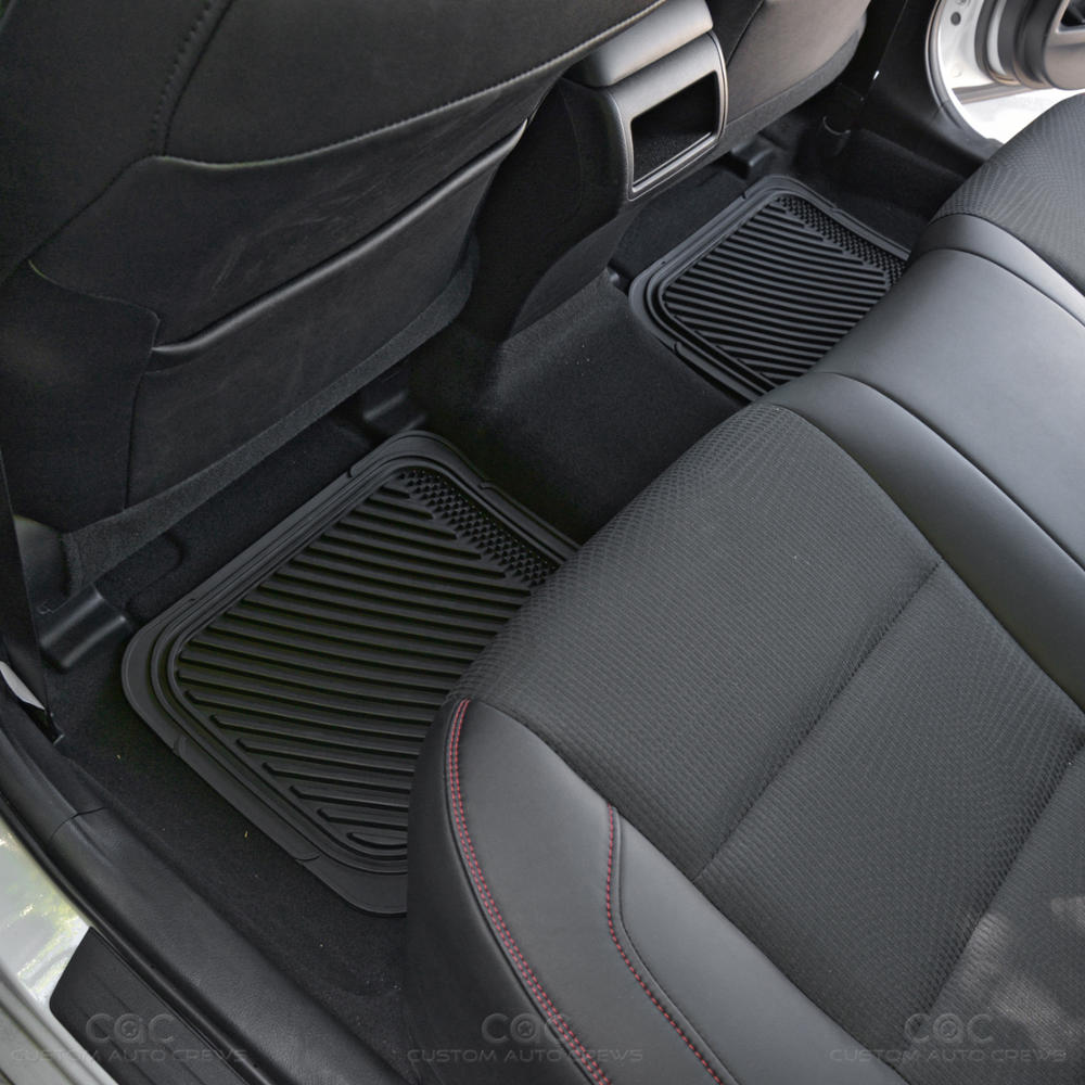 deep channeled heavy duty rubber car floor mats front rear all season blue ebay. Black Bedroom Furniture Sets. Home Design Ideas