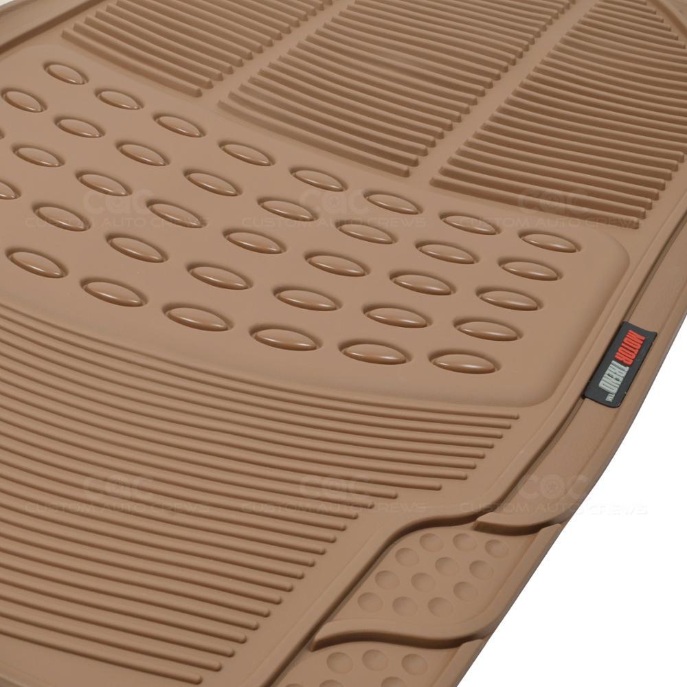 Motor trend beige rubber floor mats 4pc set premium ridged for Motor trend floor mats review