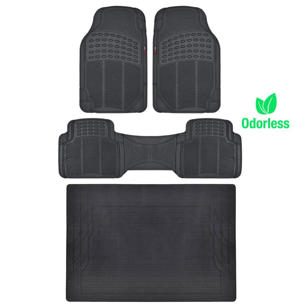 Premium ridged rubber floor mats cargo trunk liner black for Motor trend floor mats review