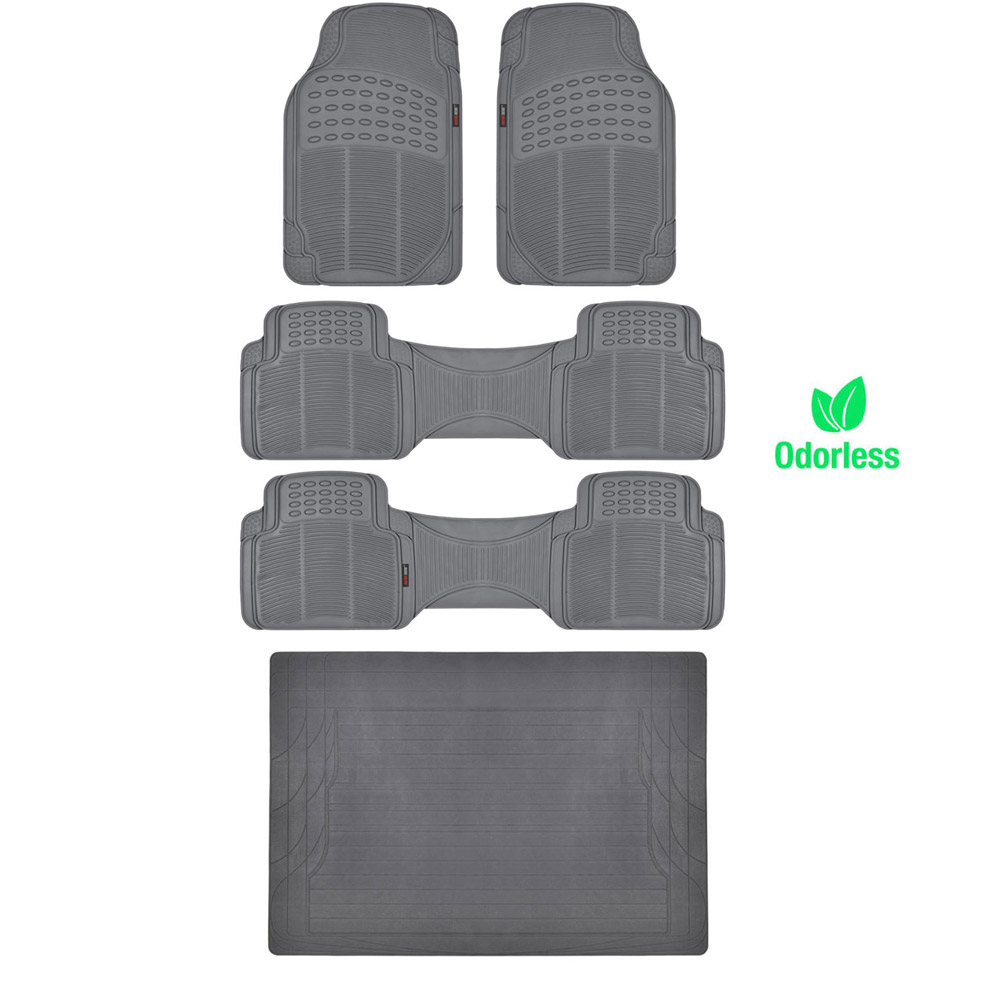 bpa free no smell rubber floor mats set heavy duty runners cargo liner gray ebay. Black Bedroom Furniture Sets. Home Design Ideas