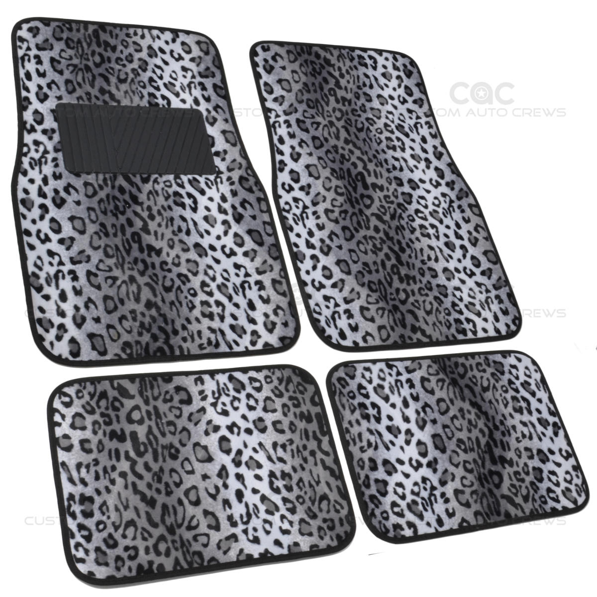 Bdk 4pc Full Set Gray Animal Print Safari Leopard Floor