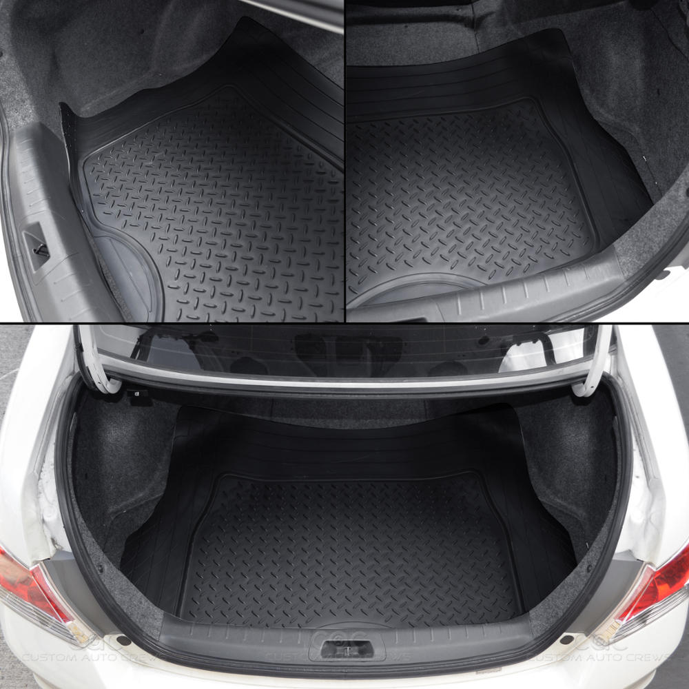 Rubber floor mats for lincoln mkx - 4pc All Weather Floor Mats Cargo Set Black Tough Rubber Motortrend Deep Dish