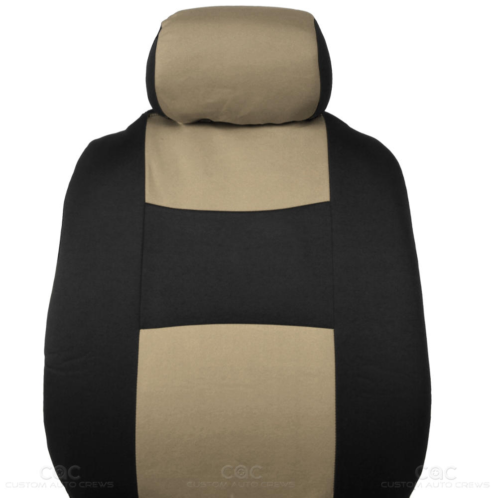 Car Seat Covers Beige Polyester Cloth W/ Front & Rear HD