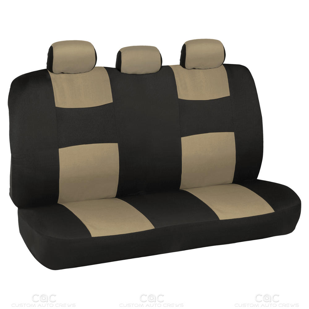 14Pc Car Seat Covers Set Full Bench Black Amp Beige W PU