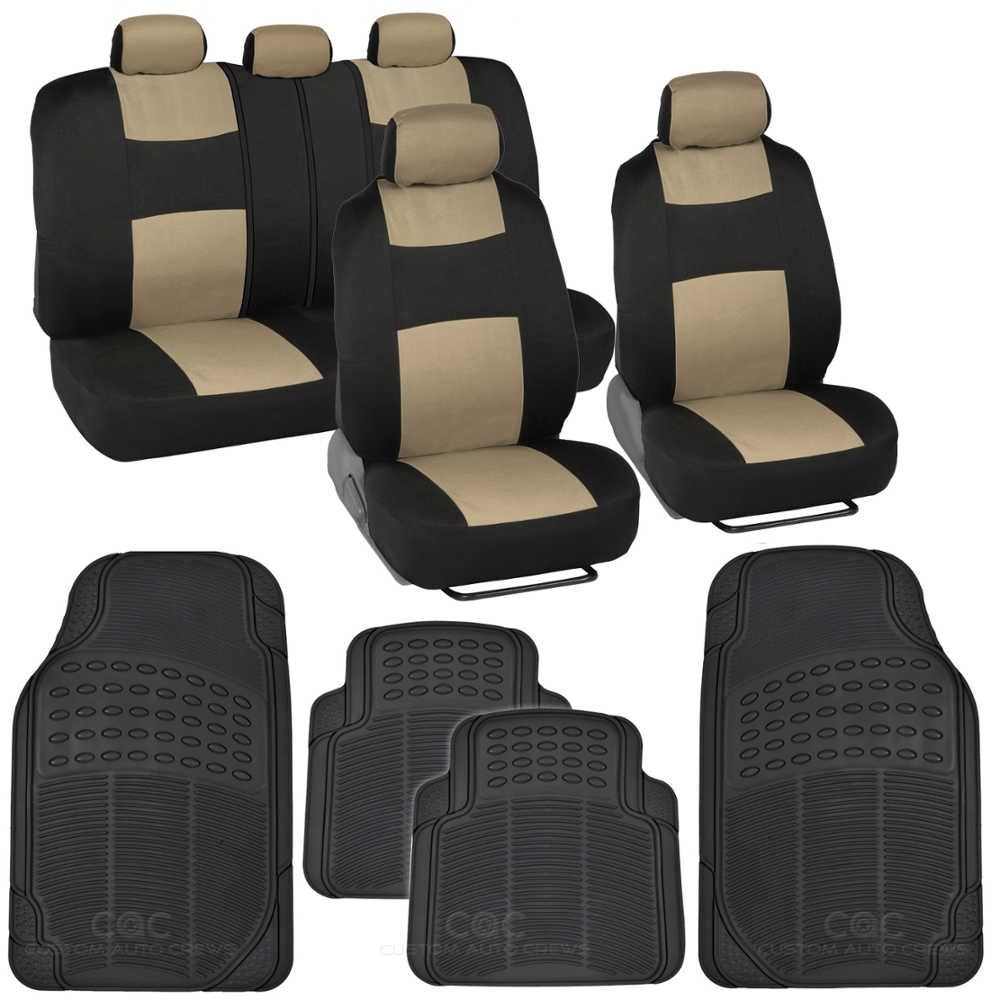 13 Pc Car Seat Covers Set Black Amp Beige With Black Front