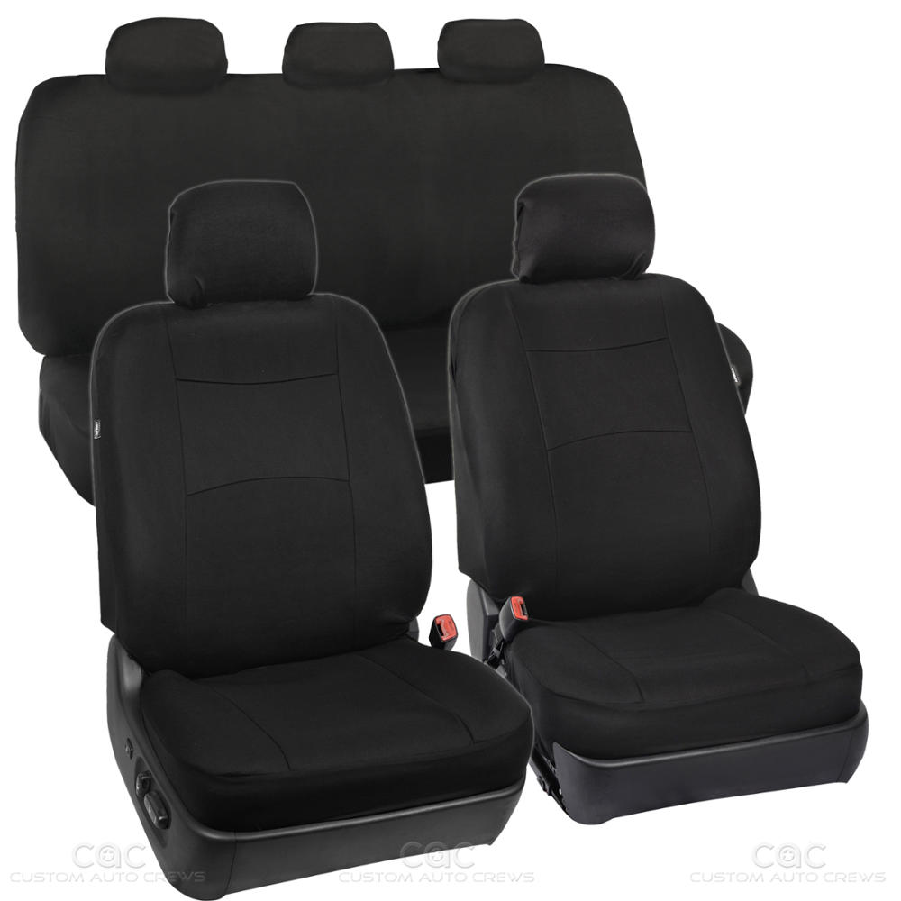 full black car seat covers set 5 headrests full solid bench for auto suv 9pc ebay. Black Bedroom Furniture Sets. Home Design Ideas