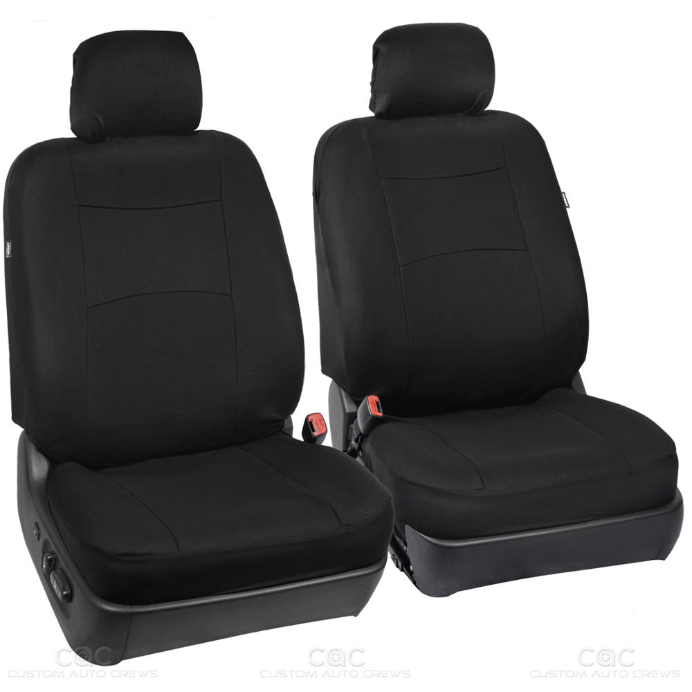 Car Seat Covers Black Polyester Cloth Front & Rear Heavy