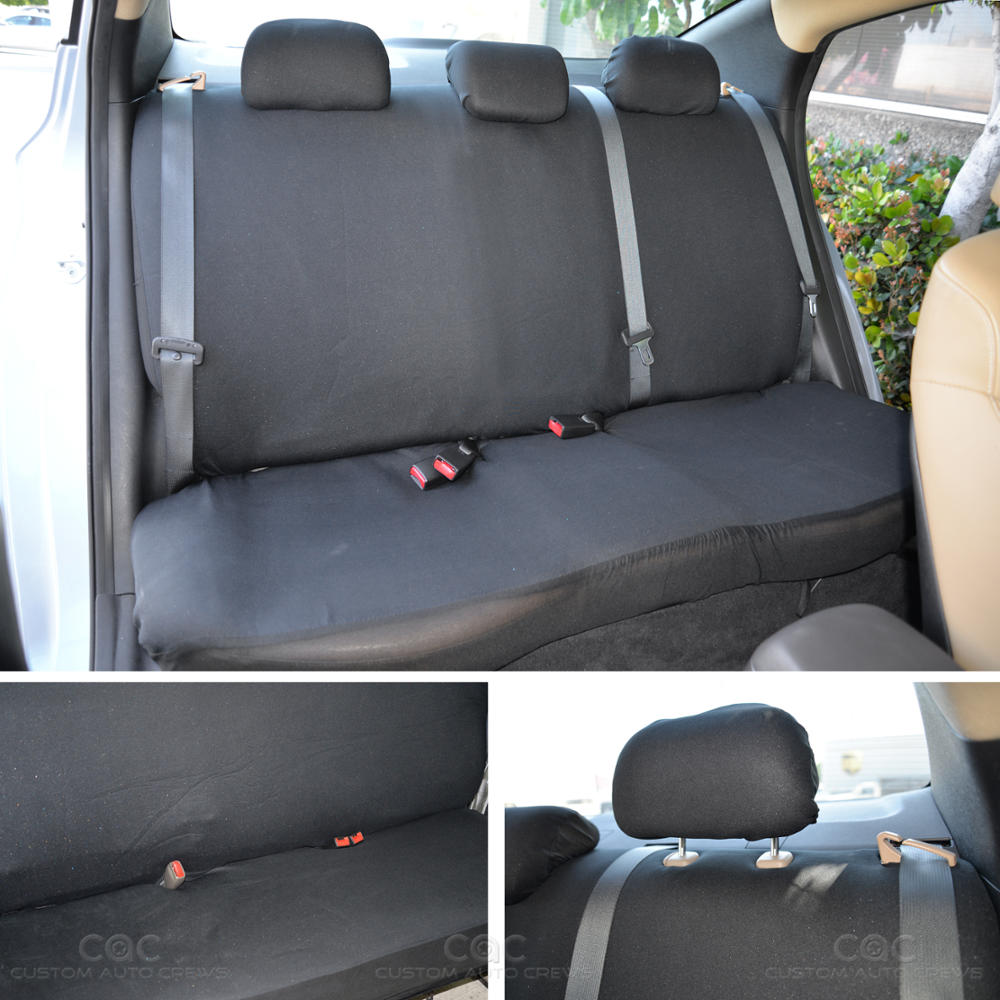 Rubber floor mats minivan - Car Seat Covers Black Polyester Cloth Front Rear Bench Full Set W 4 Piece Front Rear Rubber Floor Mats