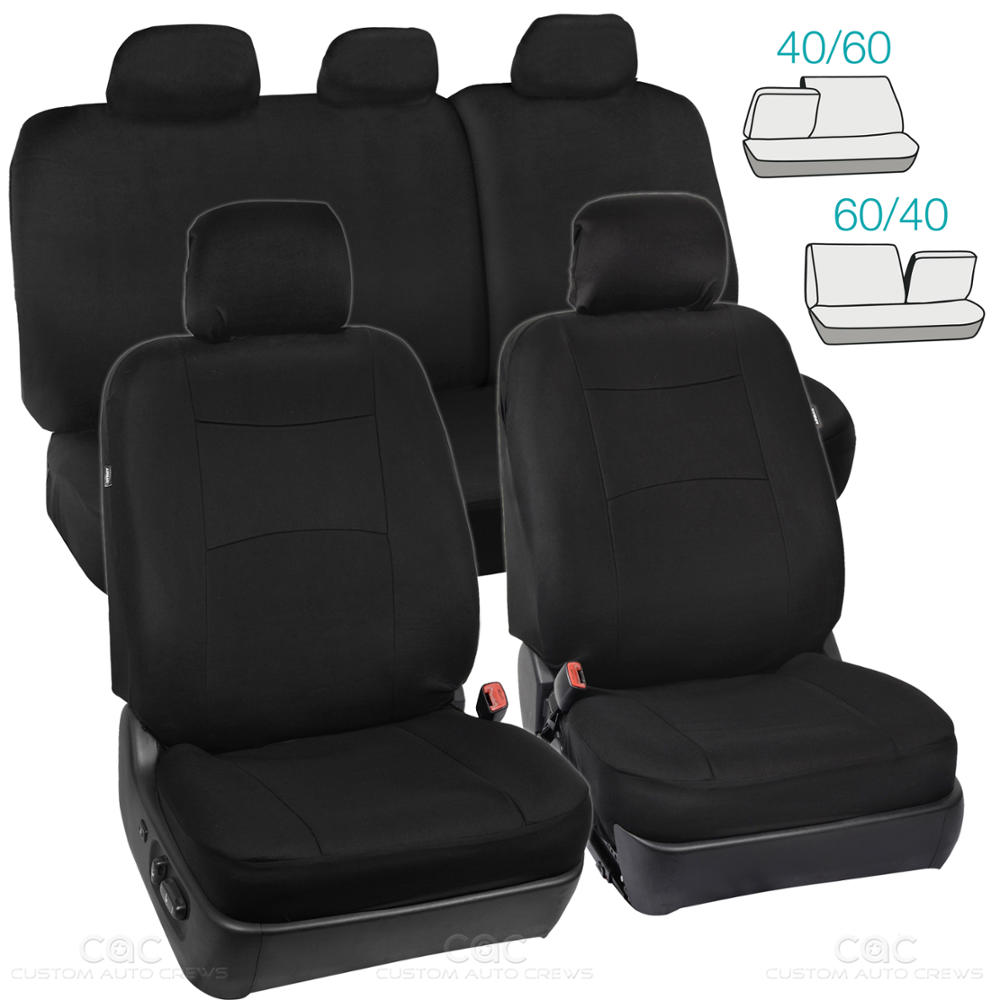 Split Bench Seat Covers ~ Full set black seat covers for car auto suv polyester