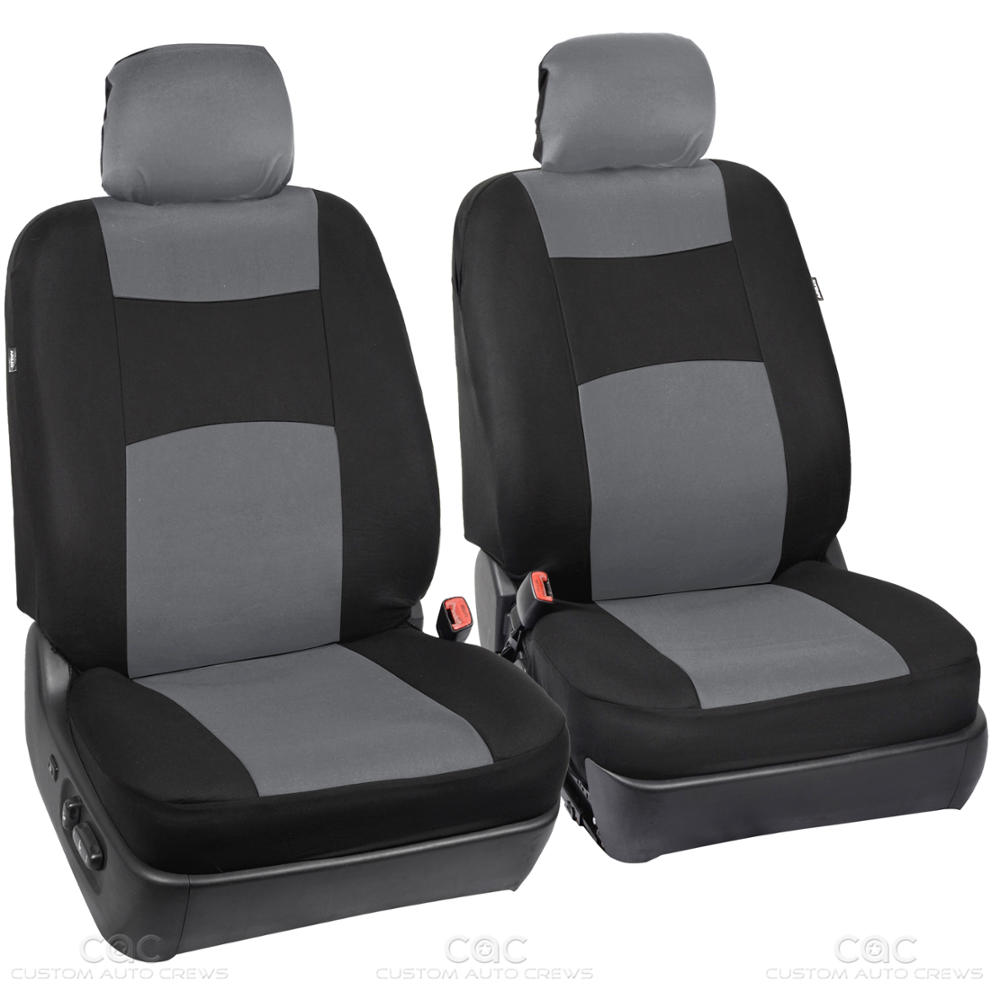 gray black car seat covers set 5 headrests full solid bench for auto suv 9pc. Black Bedroom Furniture Sets. Home Design Ideas