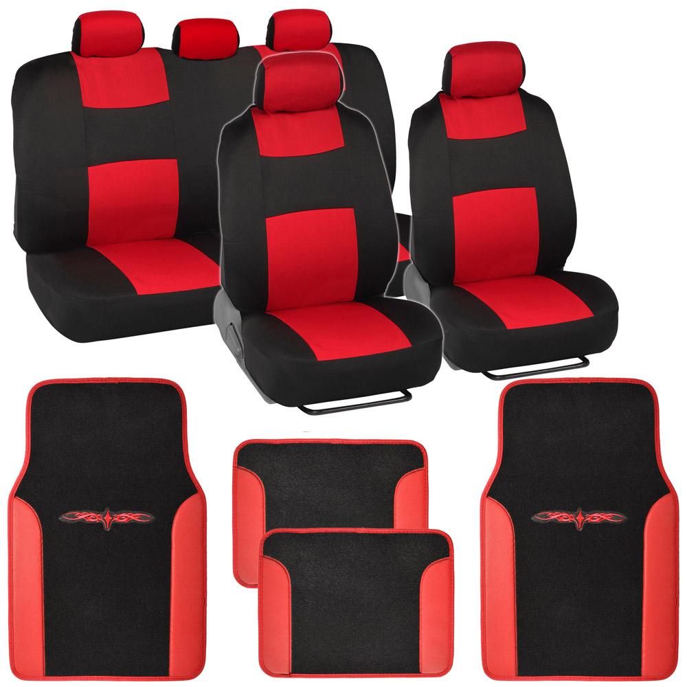 Full Bench Car Seat Covers Set Black Amp Red W PU Leather