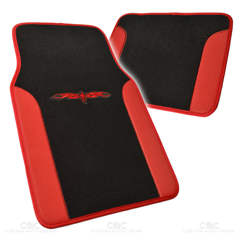 14Pc Car Seat Covers Set Full Bench Black & Red W/ PU