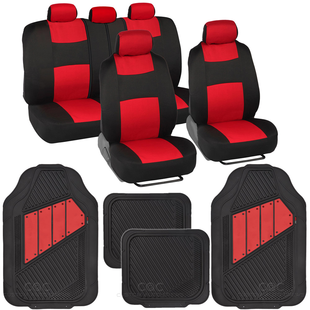Black Amp Red Seat Covers Set Complete With Deep Channeled