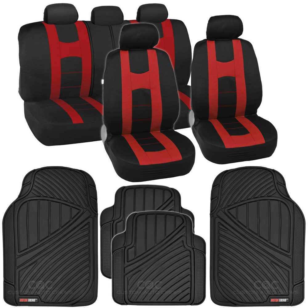 Complete Set Red Stripe Car Seat Covers FlexTough Mats