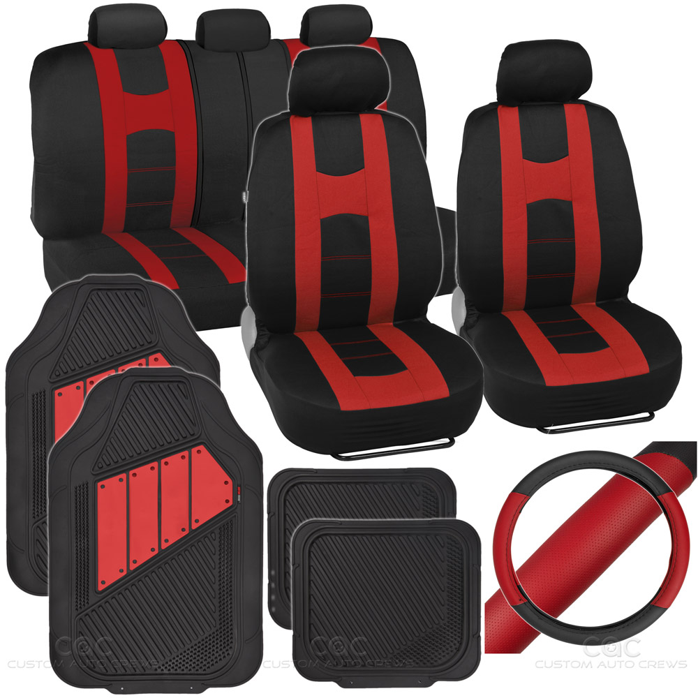rome sport set 2 tone red black car seat cover rubber mat steering cover ebay. Black Bedroom Furniture Sets. Home Design Ideas