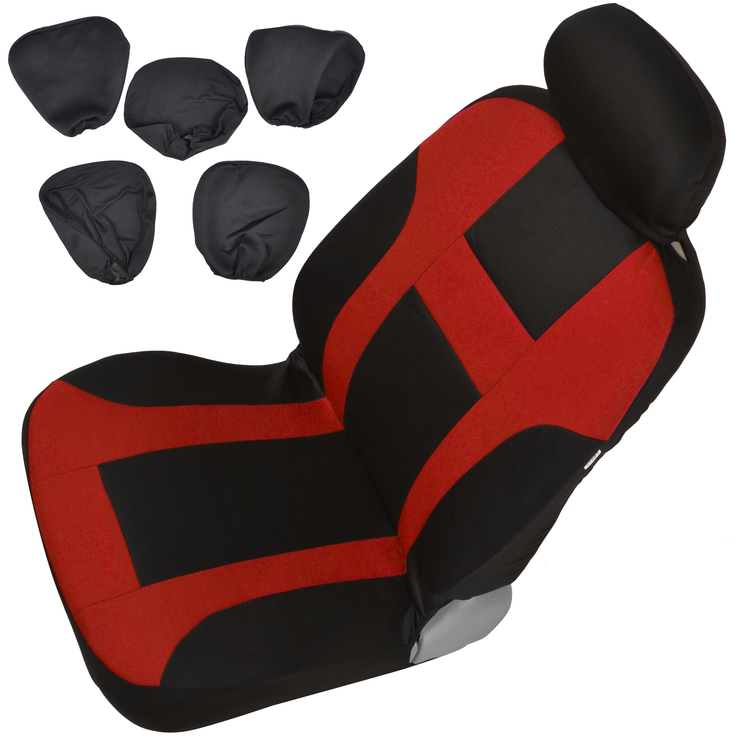 Monaco Red Set Car Seat Covers And Solid Black Hefty Mats