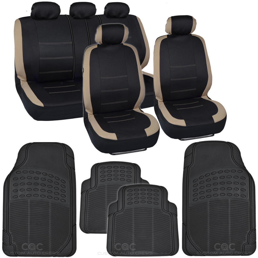 Black Amp Beige Car Seat Covers W Split Bench Amp High Grade