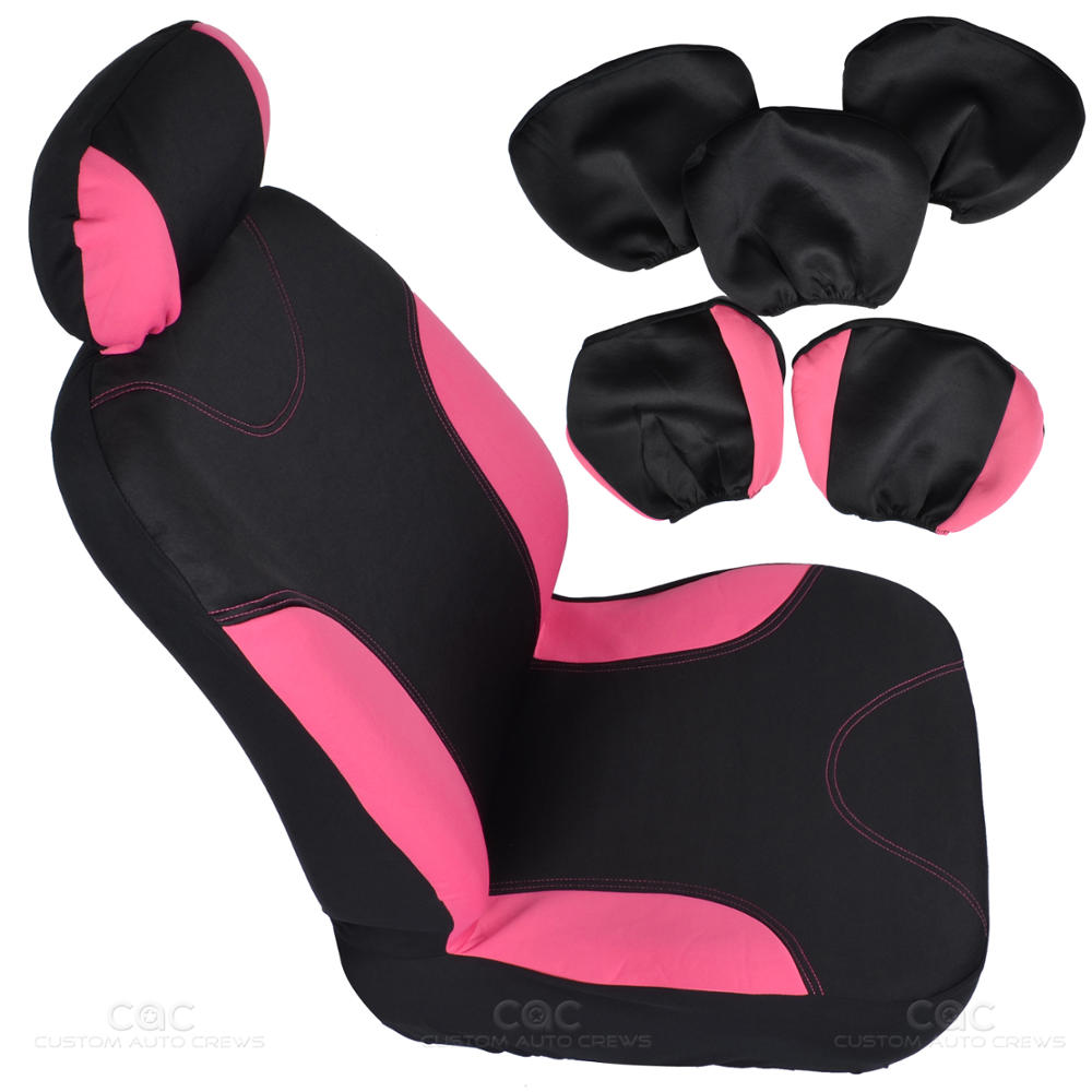 13pc Seat Covers Floor Mats For Car Black Pink W Pink Hearts Design Bucatti