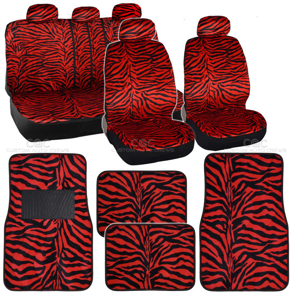 Red Zebra Car Seat Covers And Floor Mats Set