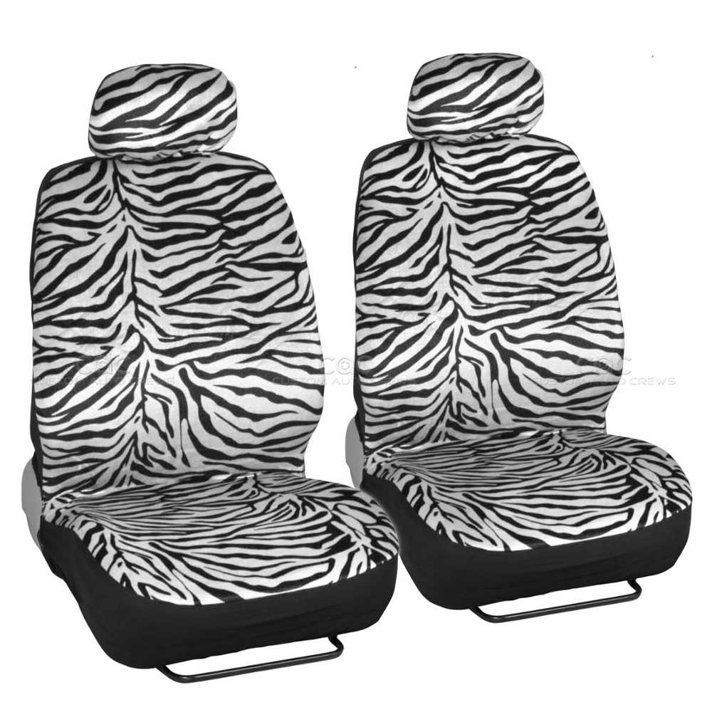 White Zebra Car Seat Covers And Floor Mats Set