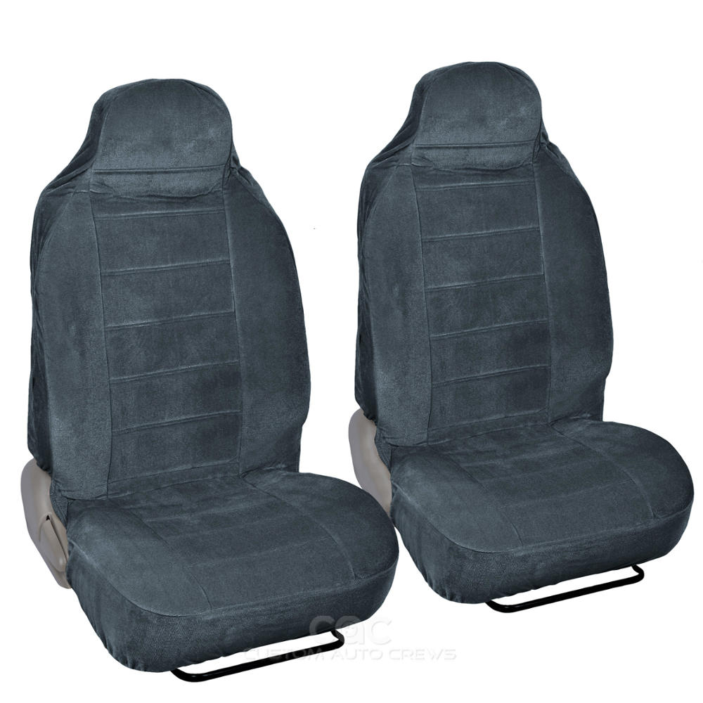 Charcoal Full Cloth High Back Auto Seat Covers Encore style 2 pc Premium