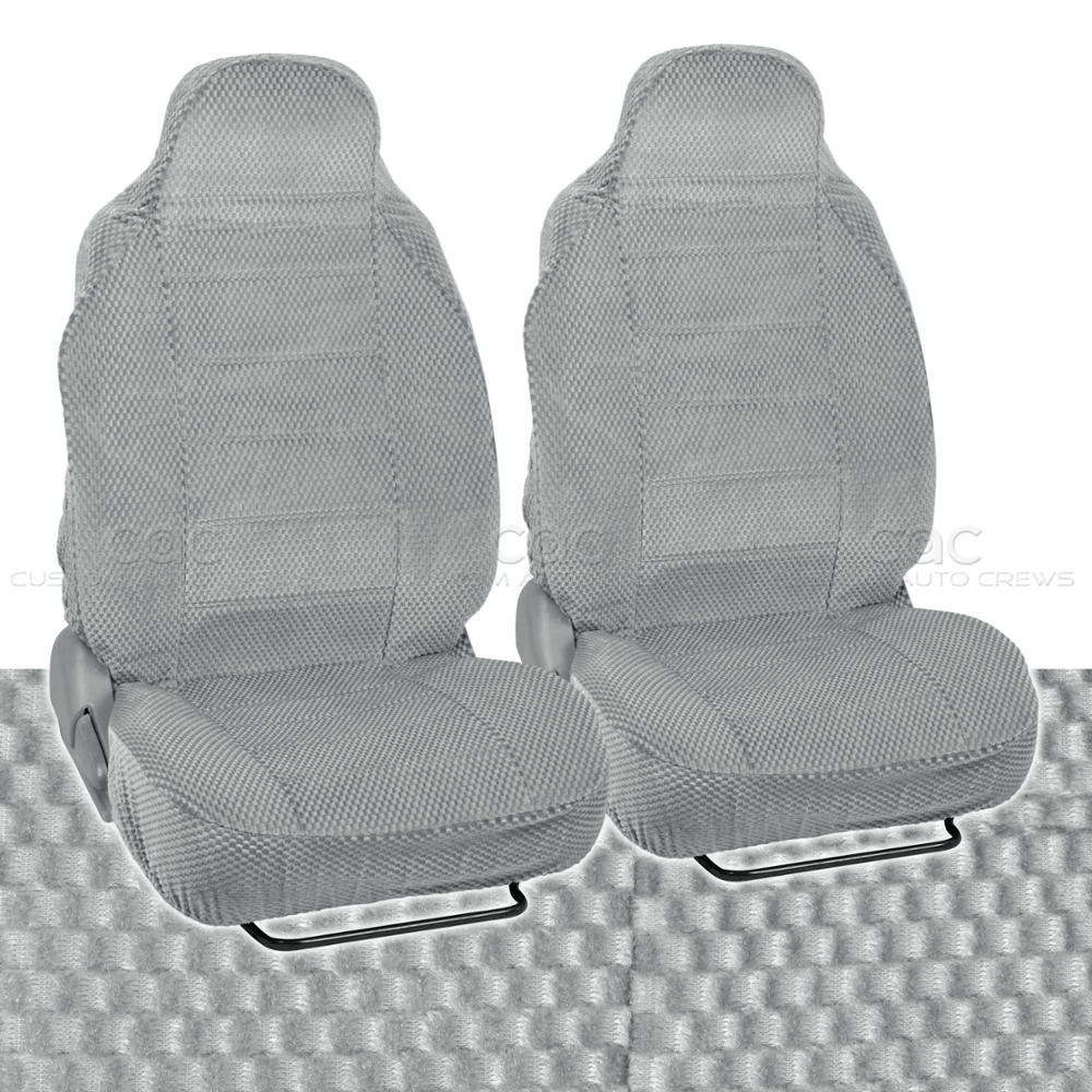 Gray Car Seat Covers 2pc Checkered Cloth Scottsdale Style