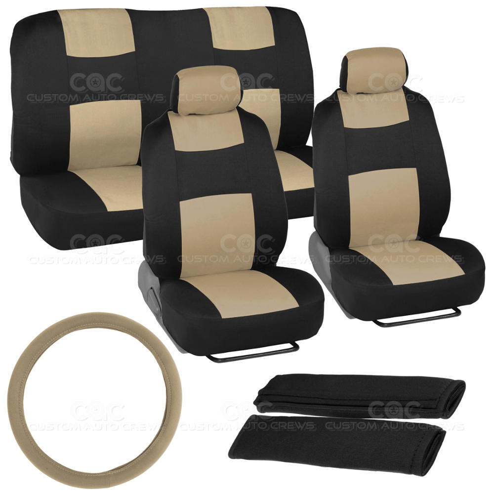 black and tan car seat covers cloth fabric beige full set plus accessories ebay. Black Bedroom Furniture Sets. Home Design Ideas