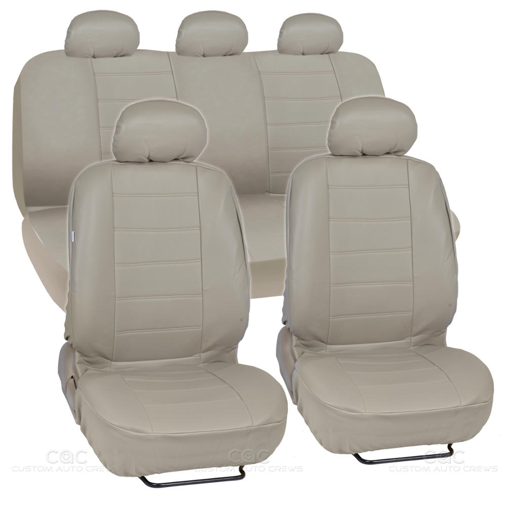 beige synthetic leather set car seat cover genuine leather feel front rear set ebay. Black Bedroom Furniture Sets. Home Design Ideas