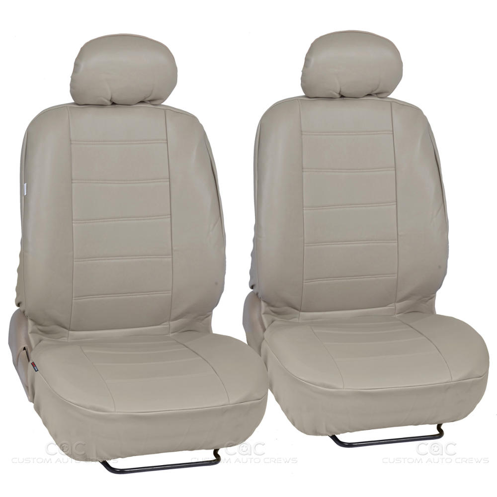 pu synthetic leather beige car seat cover genuine leather feel front rear set ebay. Black Bedroom Furniture Sets. Home Design Ideas