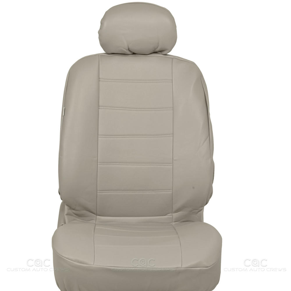 pu synthetic leather beige car seat cover genuine leather feel front rear set. Black Bedroom Furniture Sets. Home Design Ideas