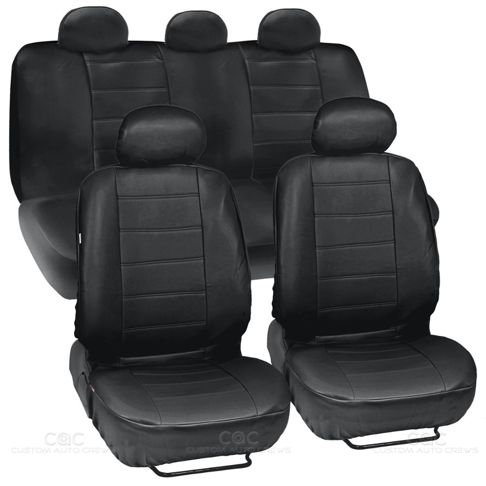 black synthetic leather set car seat cover genuine leather feel front rear set ebay