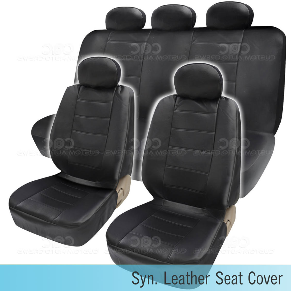 pu synthetic leather black seat cover car genuine leather feel front rear set ebay. Black Bedroom Furniture Sets. Home Design Ideas