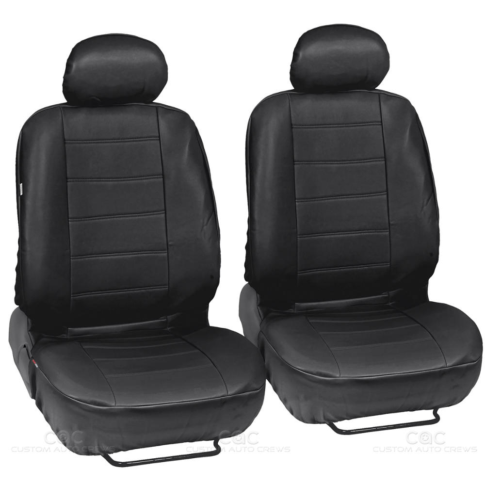 black synthetic leather set car seat cover genuine leather feel front rear set. Black Bedroom Furniture Sets. Home Design Ideas