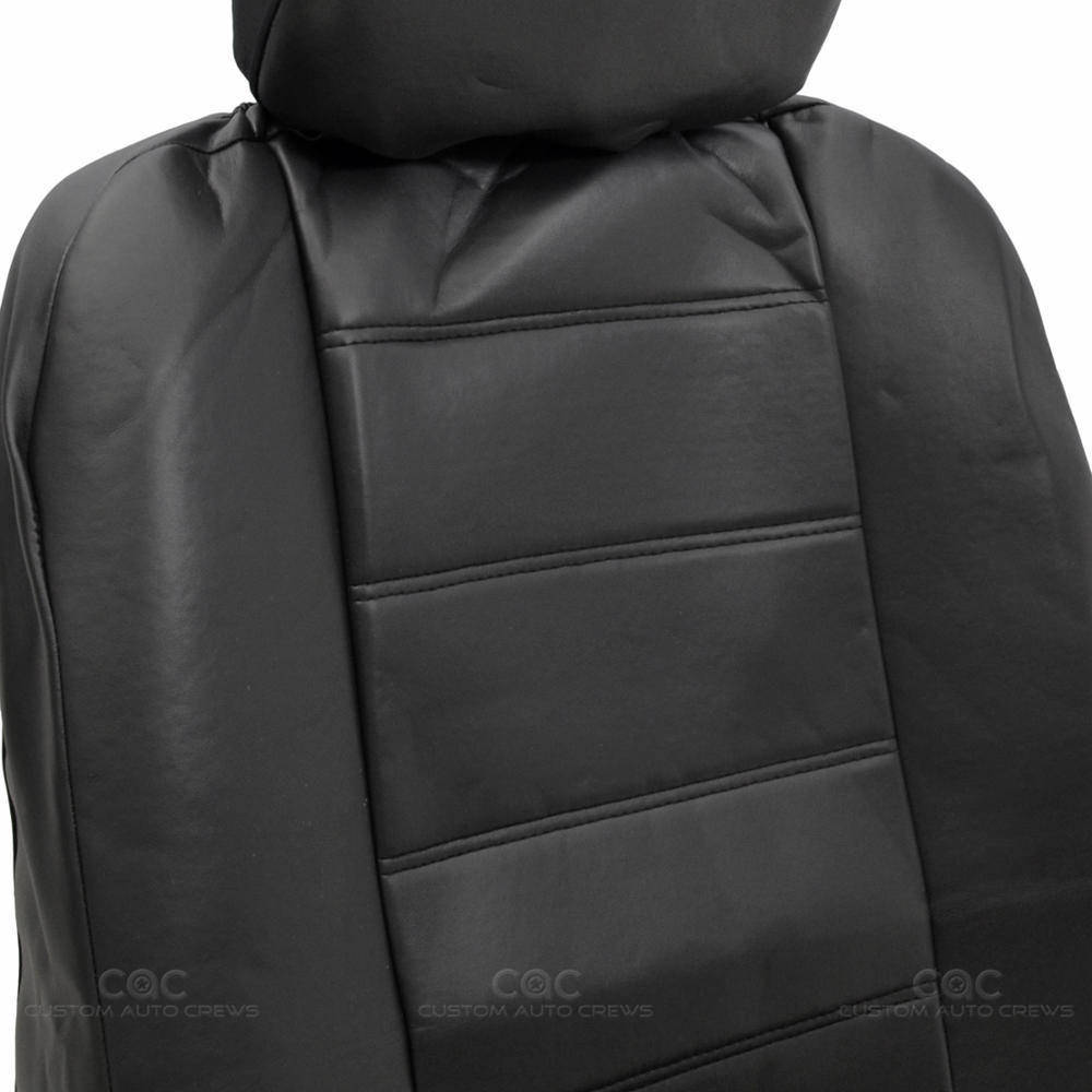 Black Synthetic Leather Set Car Seat Cover Genuine Leather