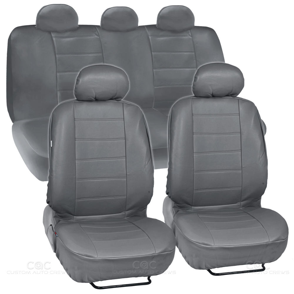 Gray Synthetic Leather Set Car Seat Cover Genuine Leather