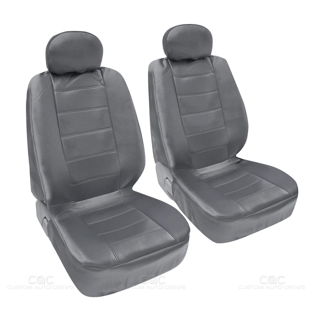 pu synthetic leather gray seat cover car genuine leather feel front rear set ebay. Black Bedroom Furniture Sets. Home Design Ideas