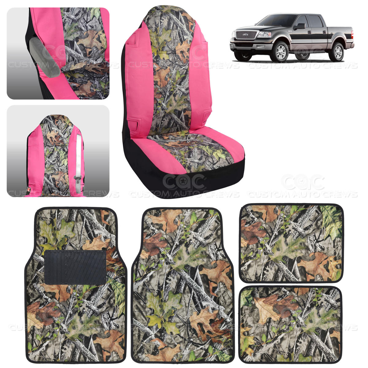 Camo seat cover floor mat for ford f 150 1500 5 piece camouflage pink