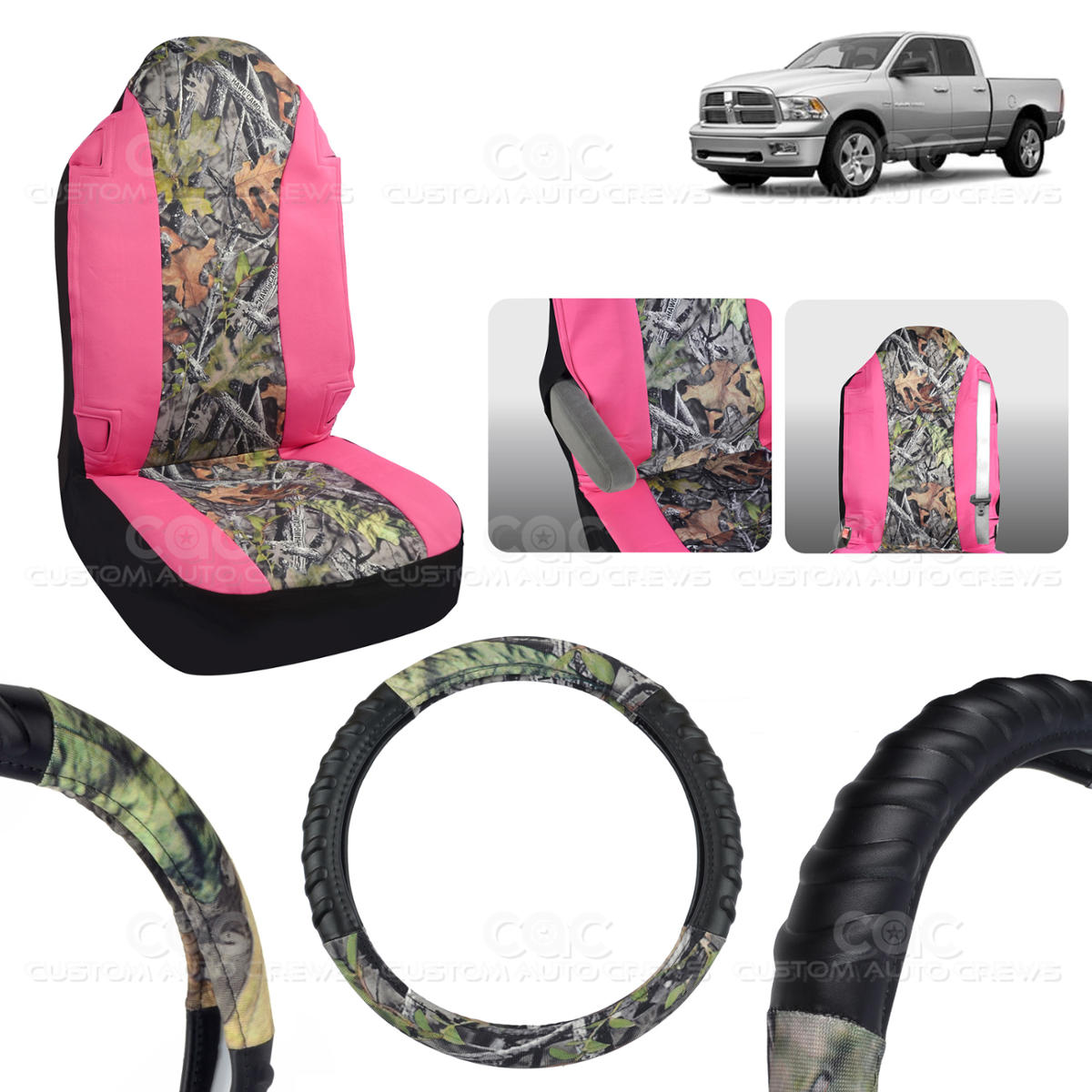 Camo Seat Cover Steering Wheel Cover For RAM 1500