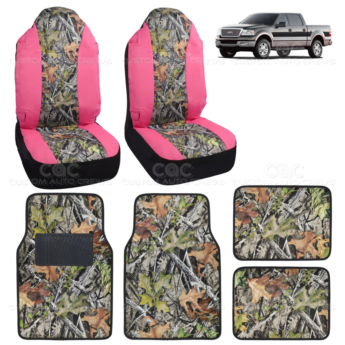 Camo seat cover floor mat for ford f 150 1500 6 piece camouflage pink