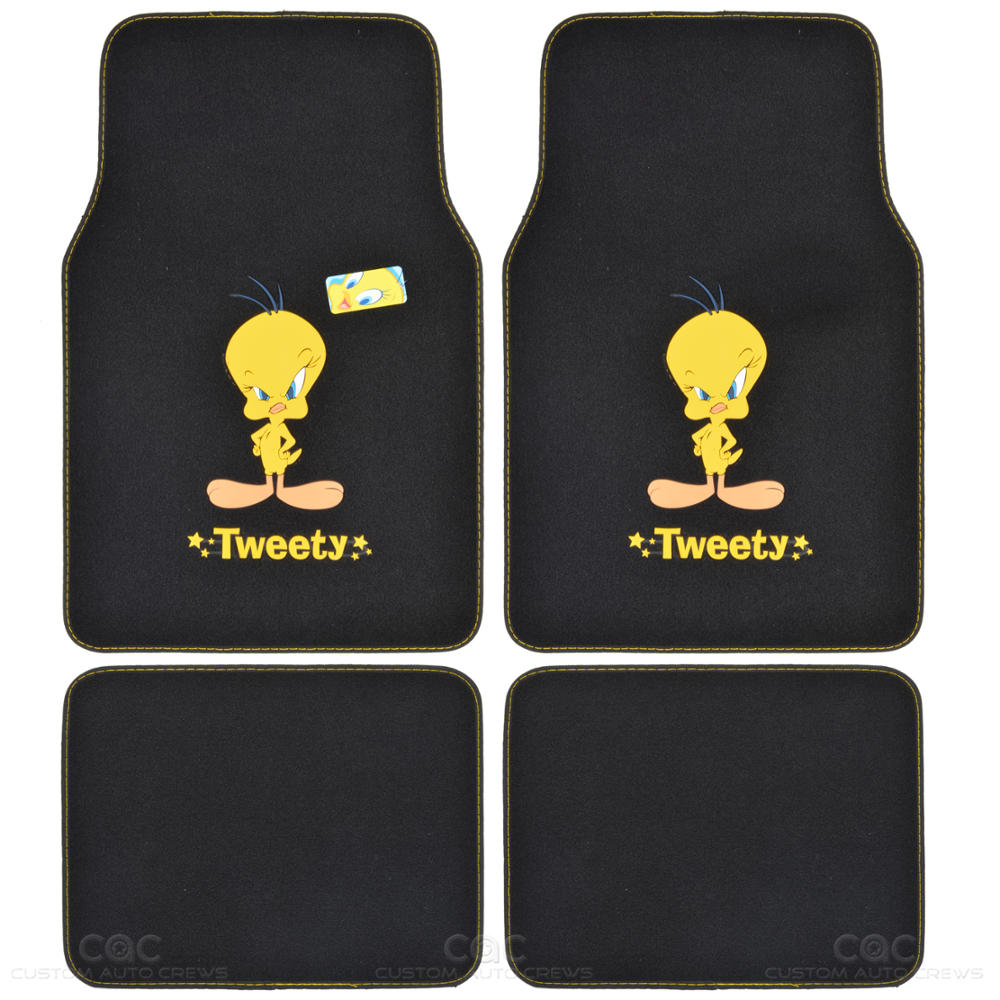 tweety bird floor mat for car suv 4 pc warner bros auto accessories full set. Black Bedroom Furniture Sets. Home Design Ideas
