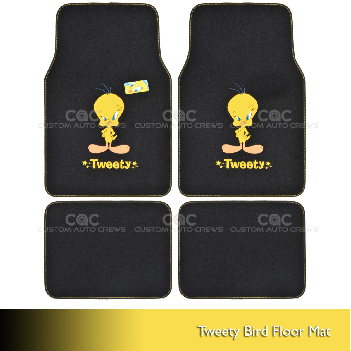 tweety bird carpet floor mats for car suv 4 pc looney tunes full set all weather ebay. Black Bedroom Furniture Sets. Home Design Ideas